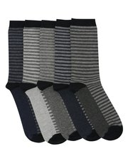 Ticking stripe socks five pack