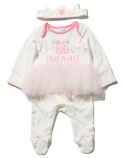 Tutu sleepsuit and crown headband set
