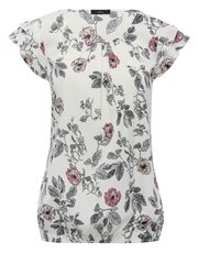 Frill sleeve floral shell top