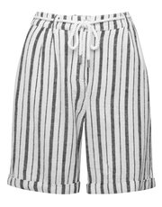 Belted linen blend stripe shorts