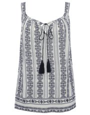 Plus tile print tassel vest top