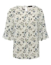 Floral frill sleeve dobby blouse