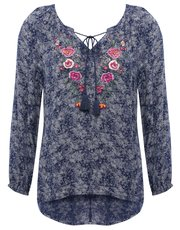 Petite floral embroidered peasant top