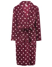 Love heart print fleece robe