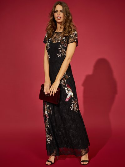 Lace embroidered maxi dress