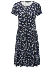 Floral bird print pocket day dress