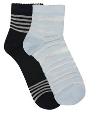 Pretty Polly sheer stripe ankle socks pack of two