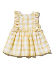 Yellow checked ruffle dress