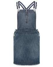 Teens' glitter strap denim dungaree dress