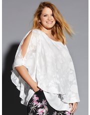 Plus floral batwing layer top