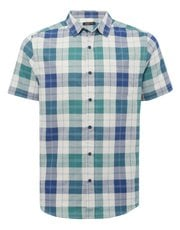 Block check short sleeve oxford shirt