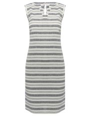 Stripe print linen blend shift dress