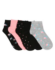 Floral and spot print socks five pack