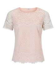 Precis Petite Lara lace mix pink top
