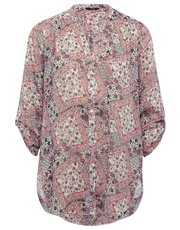 Tile print sheer shimmer shirt