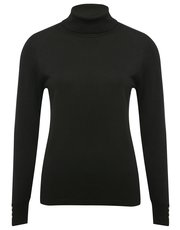 Button trim roll neck jumper