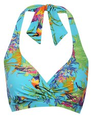 Hawaiian jungle print halter neck bikini top