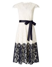 Jacques Vert contrast lace border dress
