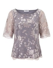 Jacques Vert sequin and lace jersey top