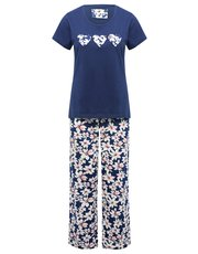 Floral print love heart pyjamas