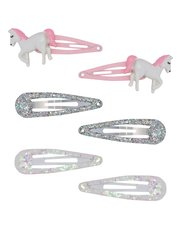 Unicorn glitter hair clips six pack