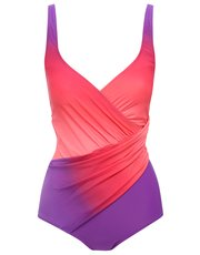 Pink ombre tummy control swimsuit