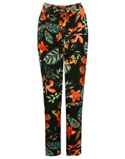 Tropical floral print tie waist trousers