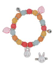 Bunny charm bead bracelet and ring set
