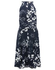Floral print halterneck fit and flare dress