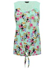 Tropical toucan print tie front vest top