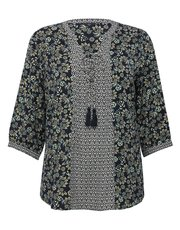 Plus floral print border tunic top
