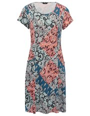 Patchwork print fit and flare dress