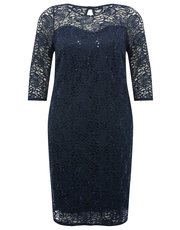 Plus Sequin lace shift dress