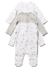 Stripe rainbow and giraffe sleepsuit three pack