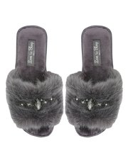 Grey faux fur diamante slippers