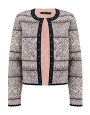 VIZ-A-VIZ quilted ethnic stripes print jacket