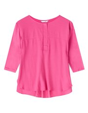 Dash pink woven jersey mix top
