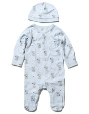 Dog print sleepsuit and hat set