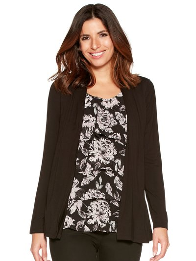 Two in one floral print cardigan top