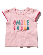 Smile slogan tassel t-shirt