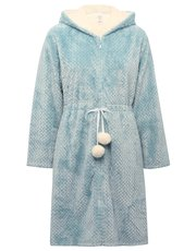 Pom pom shimmer fleece zip robe