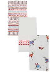 Animals in jumpers tea towels set of three