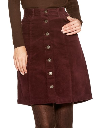 A line button front cord skirt
