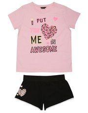 Teens' heart slogan print pyjamas