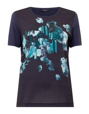 TIGI printed front placement sequin top