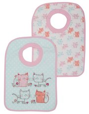 Cat print pop over bibs two pack