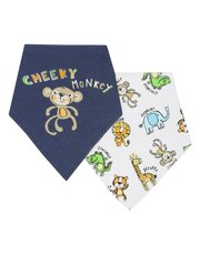 Cheeky monkey slogan bibs two pack