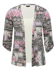 Two in one printed cardigan top