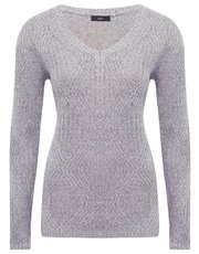 Metallic V neck jumper
