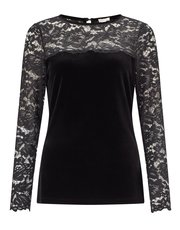 Precis Petite velvet and lace top